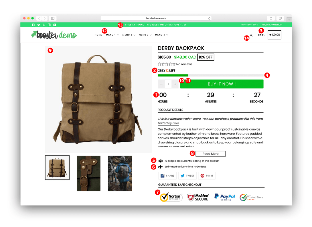 Booster Theme Review Best Shopify Theme 2018 Product Page