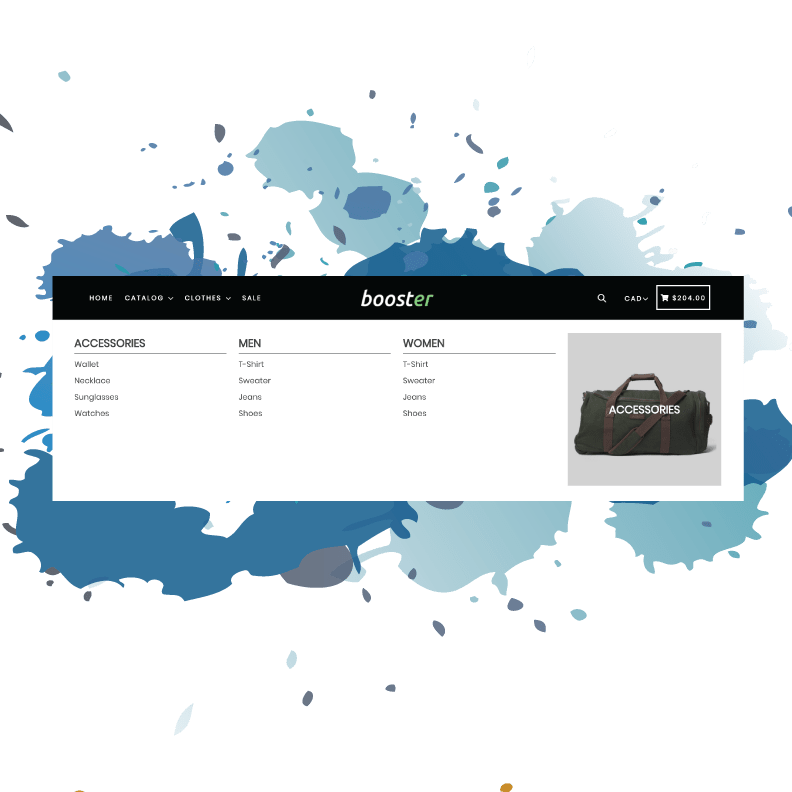 Booster Theme Review Best Shopify Theme 2018 Mega Menu